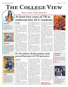The College View's front page, Issue 9, Volume XV.