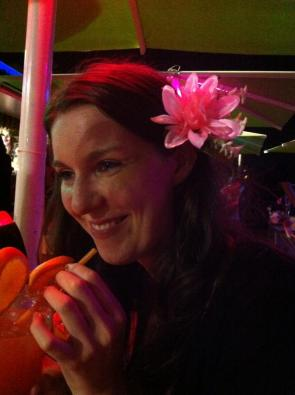 Look at me. Look how happy I am, drinking an over-sized cocktail with a flower in my hair I would usually find ridiculous. But not in a cocktail bar on the beach.